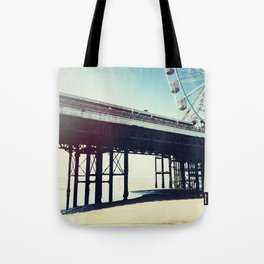 Ferris wheel and pier with light leak Tote Bag