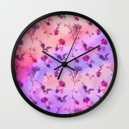 Modern hand painted abstract pink violet watercolor floral Wall Clock