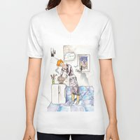 chef V-neck T-shirts featuring petit chef by bgallery