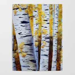 Birch Grove, acrylic painting, inspired by Belarus Poster