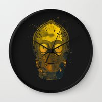 c3po Wall Clocks featuring C3PO Splash by Sitchko Igor
