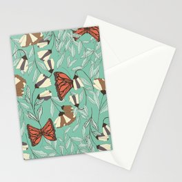 Beautiful Vintage Butterfly And Flower Pattern Stationery Cards