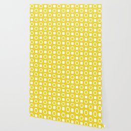 Lemon Yellow Contemporary Bead Pattern Wallpaper