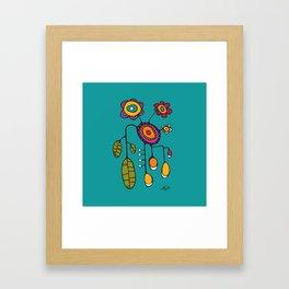 Flower Pot in Color on Teal Framed Art Print