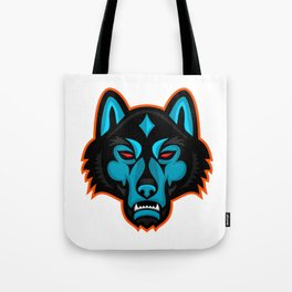 Timber Wolf Head Sports Mascot Tote Bag