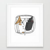 puppies Framed Art Prints featuring puppies by Sarah Jane Campbell illustrations
