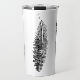 Feather Trio | Three Feathers | Bird Feathers | Black and White | Travel Mug