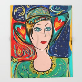 Pop Girl Art Deco with Hat and hearts Throw Blanket