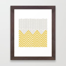 Chartreuse Chevron and dots  Framed Art Print