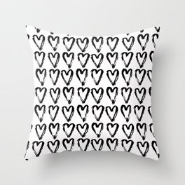 Black & White-Love Heart Pattern - Mix & Match with Simplicty of life Throw Pillow