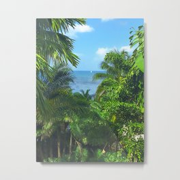 St Lucia View to Sailboat at Sea Metal Print