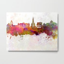 Vaduz skyline in watercolor background Metal Print