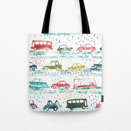cars in the rain Tote Bag