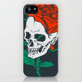 Dark Art Beauty in Everything Smiling Skull and Rose iPhone Case