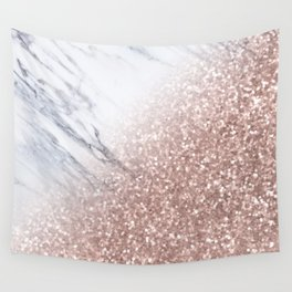 Blush Pink Sparkles on White and Gray Marble V Wall Tapestry