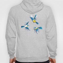 Flying Blue Tit / Bird Pattern Hoody