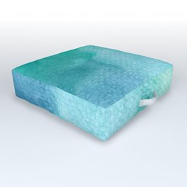 Blue Green Turquoise Watercolor Texture Outdoor Floor Cushion
