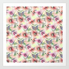 Elegant pink coral modern floral botanical illustration Art Print