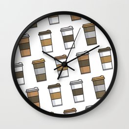 Coffee Cup Lover Pattern Design Wall Clock