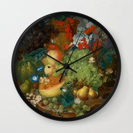 """Jan van Os  """"Fruit still life with a mouse on a ledge"""" Wall Clock"""