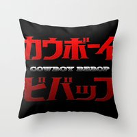 cowboy bebop Throw Pillows featuring Cowboy Bebop Logo Remix by InvaderDig