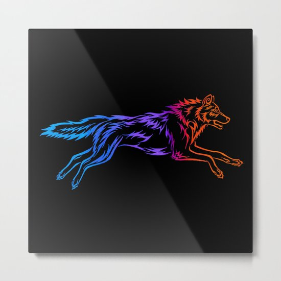 Colorful Tribal Running Wolf Metal Print