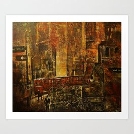 Afternoon on the corner of Wall street 1930 Art Print