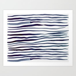 Irregular watercolor lines - indigo Art Print