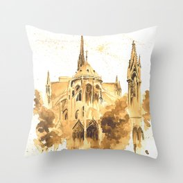 Gothic Notre Dame Throw Pillow