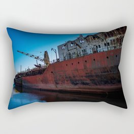 Huge ruins of an abandoned boat on the coast. Rectangular Pillow