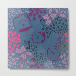 Floral Bright Blue Pink Flower Bunches Overall Pattern Metal Print