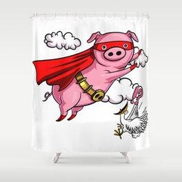 Funny Flying Pig Farm Animal Shower Curtain