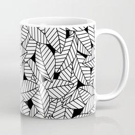 Leaves in Black Coffee Mug