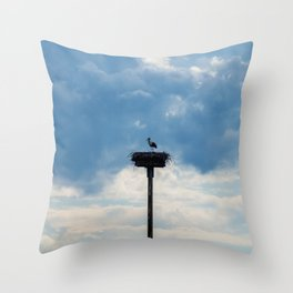 A Stork among the Clouds Throw Pillow