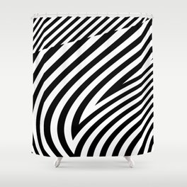 stripes wave. wow Shower Curtain