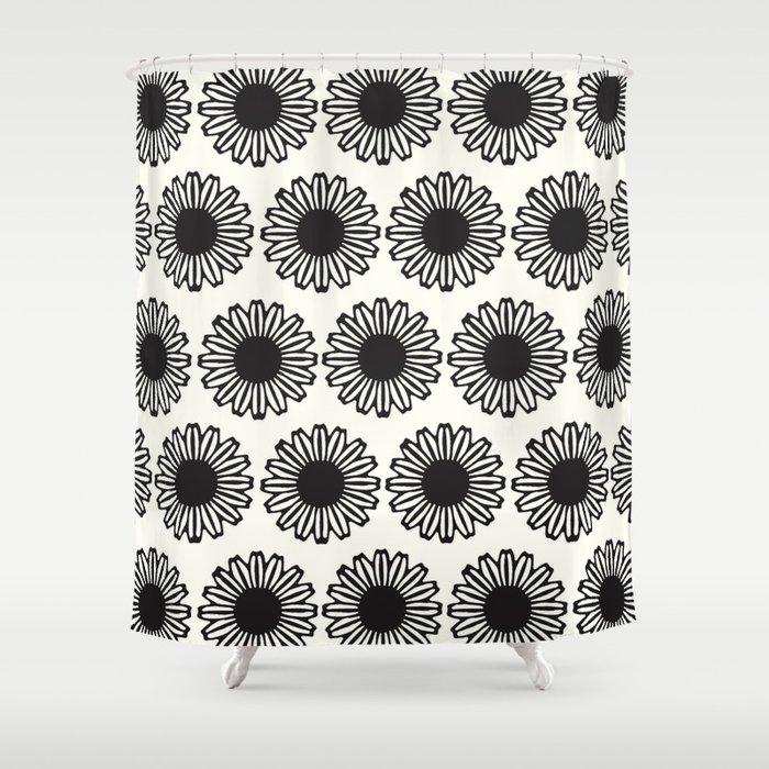 vintage flowers black Shower Curtain