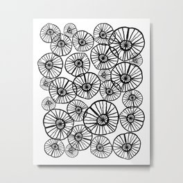 Lexi - squiggle modern black and white hand drawn pattern design pinwheels natural organic form abst Metal Print