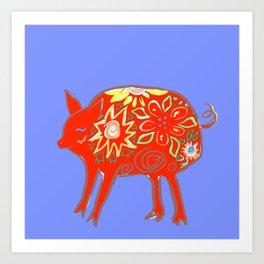 Brown Earth Pig Art Print