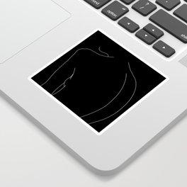 Minimal line drawing of woman's body - Alex black Sticker