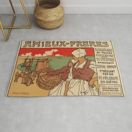 Vintage French sea fish advertising Rug