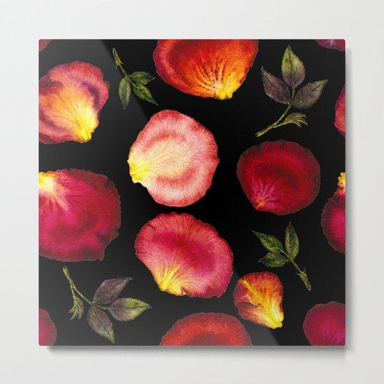 Rose Petal Pattern on Black 01 Metal Print