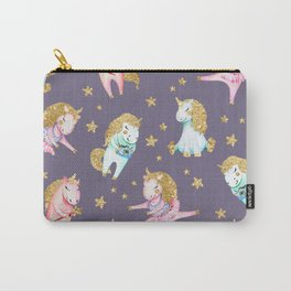 Elegant pink teal faux gold magical  unicorns Carry-All Pouch