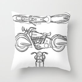 Henderson Motorcycle Prototype Streamliner Main Spec Pre-Patent Drawing Throw Pillow