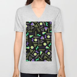 Geometrical retro lime green neon purple 80's abstract pattern Unisex V-Neck