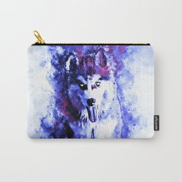 husky puppy dog watercolor splatters deep blue Carry-All Pouch