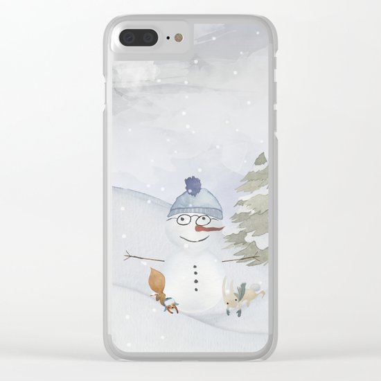 Winter Wonderland- Funny Snowman and friends - Watercolor illustration Clear iPhone Case