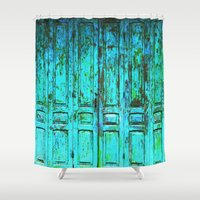 doors Shower Curtains featuring Turquoise Doors © by Ethna Gillespie