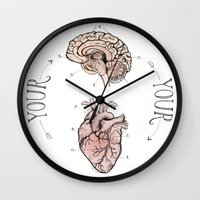 anatomical heart Wall Clocks featuring Anatomical Oracle by Michele Phillips
