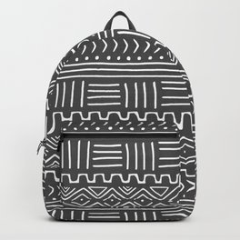 Mud Cloth on Gray Backpack