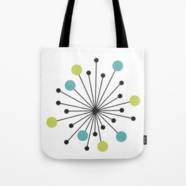 Atomic Age Nuclear Motif — Mid Century Modern Tote Bag
